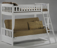 Spice Twin over Futon Bunk Bed White   New Energy Furniture   SPICE-FB-W