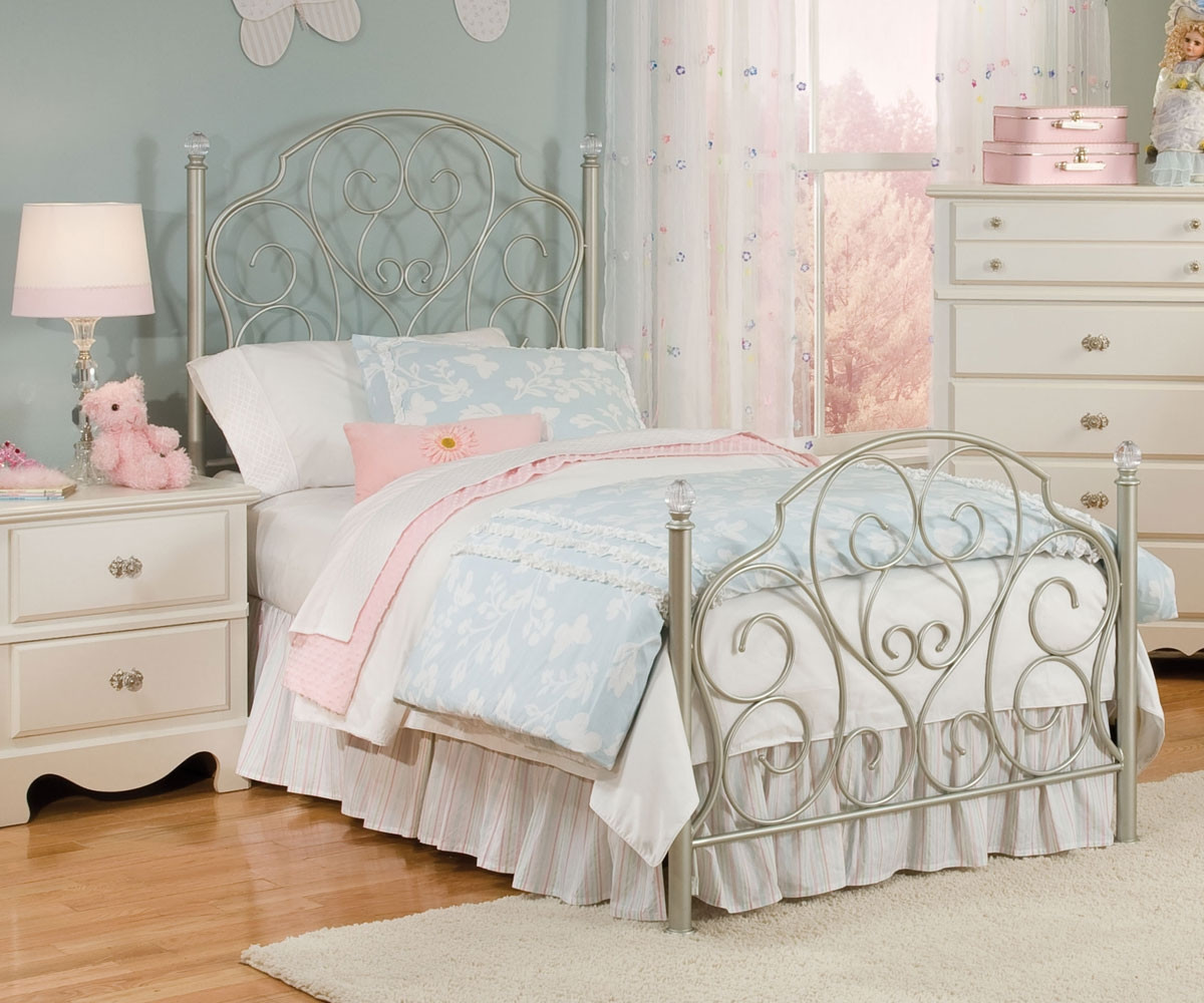 Spring Rose Metal Bed For Girls Twin Size Bed With