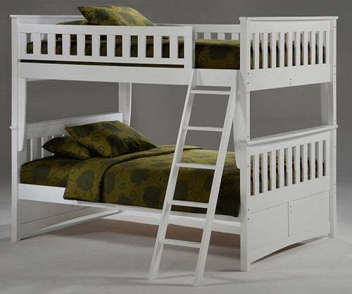 Timber Creek Full over Full Bunk Bed White   Night and Day Furniture   TCFFB-WH