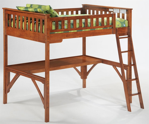 Timber Creek Full Size Loft Bed with Desk Cherry   Night and Day Furniture   TCFLOFT-CHY-CL