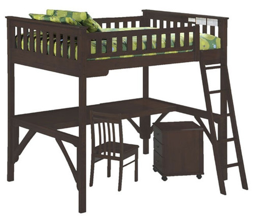 Timber Creek Full Size Loft Bed with Desk Chocolate   Night and Day Furniture   TCFLOFT-CLT-CL