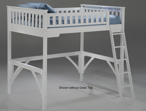 Timber Creek Full Size Loft Bed with Desk White | Night and Day Furniture | TCFLOFT-WHT-CL