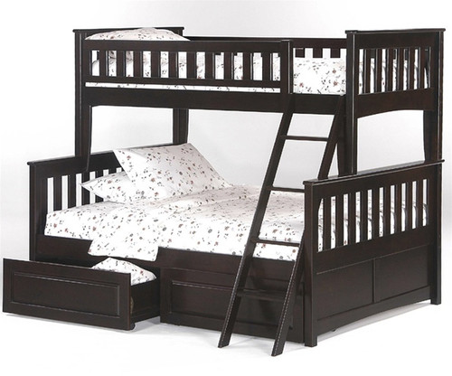 Timber Creek Twin over Full Bunk Bed Chocolate   Night and Day Furniture   TCTFB-CLTE-CL