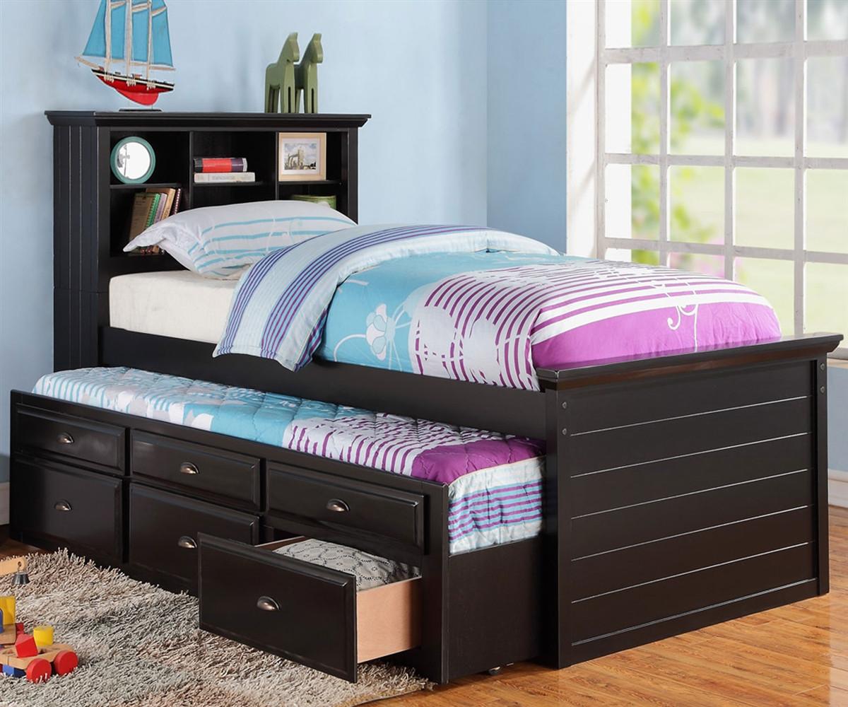 cheaper 7ebbf 907fa Sussex Twin Size Bookcase Captains Trundle Bed Black
