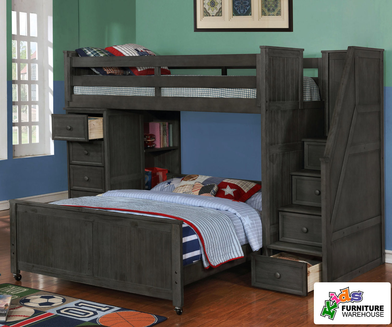 Picture of: Multifunction Loft Bed In Driftwood Gray Allen House Kids Loft Beds And Bunk Beds