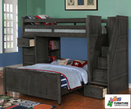 Allen House Twin over Full Storage Loft Bed with Stairs Weathered Dark Gray