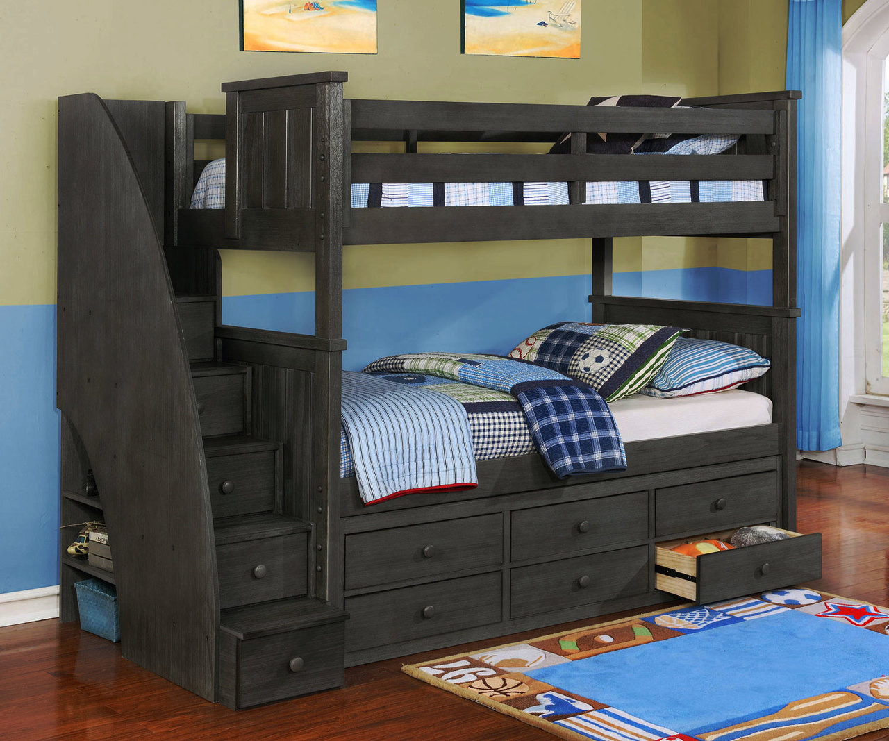 Picture of: Brandon Bunk Bed With Stairs In Driftwood Gray Allen House Kids Loft Beds And Bunk Beds