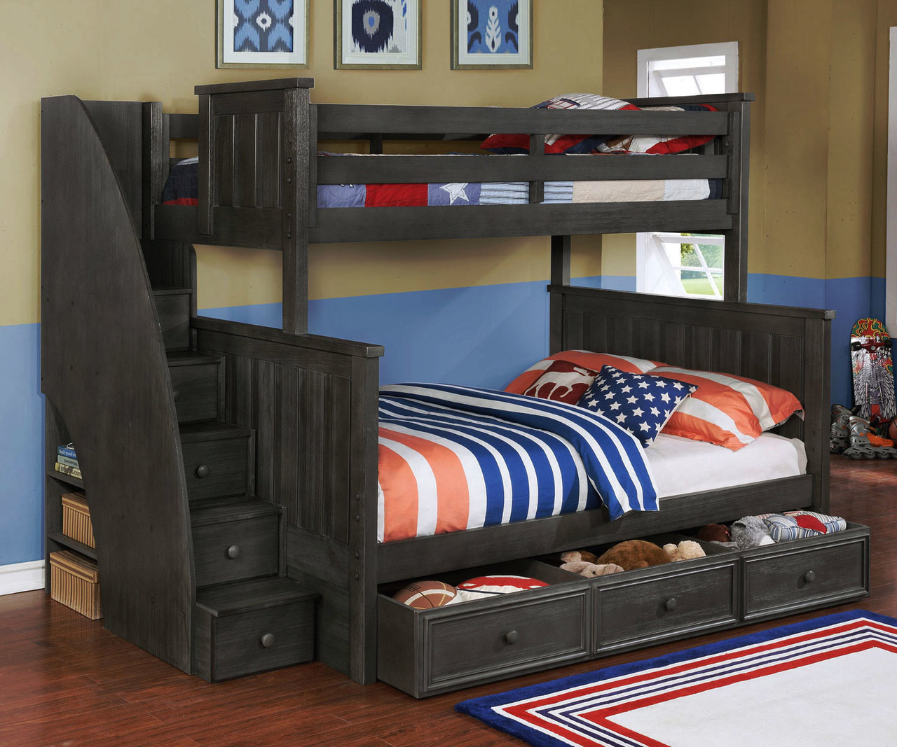 Bed Over Stair Box With Storage And Stairs: Brandon Bunk Bed Twin Over Full With Stairs In Driftwood