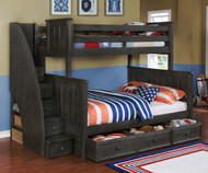 Allen House Brandon Twin over Full Bunk Bed with Stairs Weathered Dark Gray