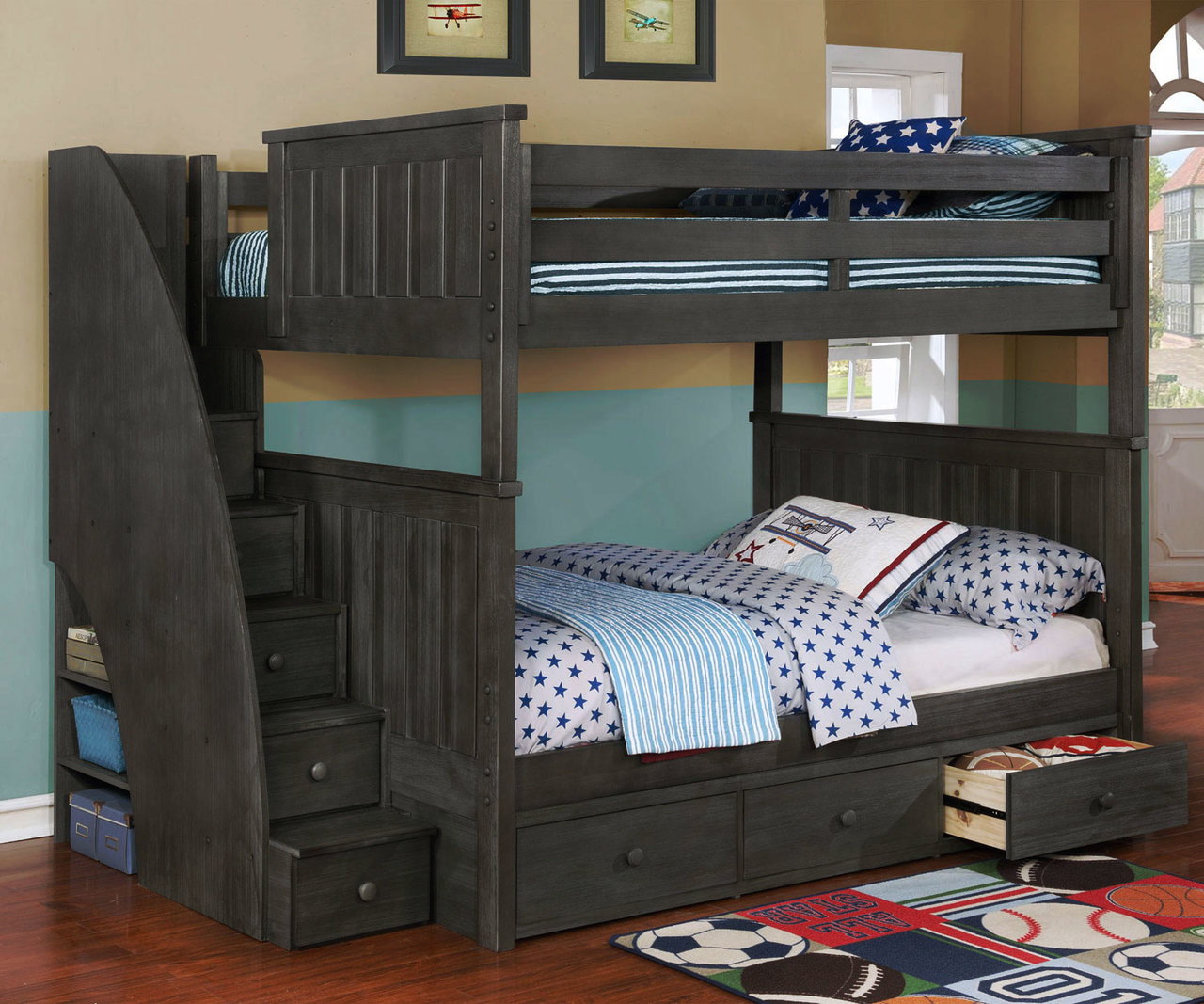 Bed Over Stair Box With Storage And Stairs: Brandon Full Bunk Bed W/ Stairs Dark Gray