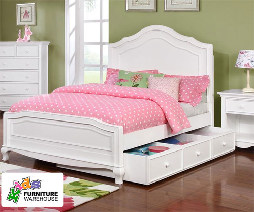 cassie full size panel bed in white finish | allen house