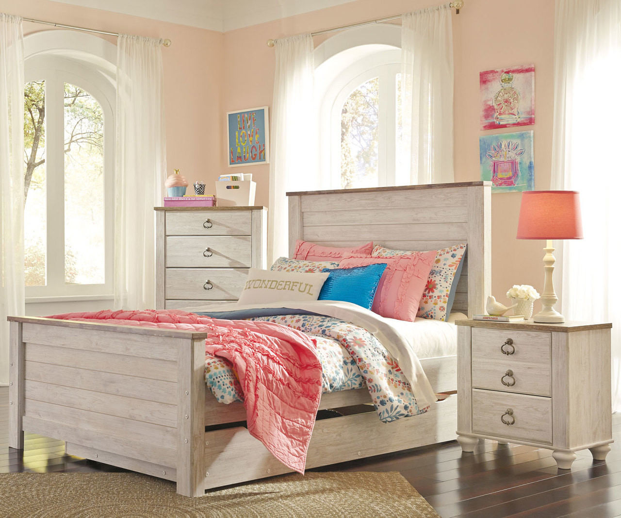 Picture of: Willowton Full Size Panel Bed With Trundle B267 Ashley Kids Furniture Kids Teens Bedroom Furniture