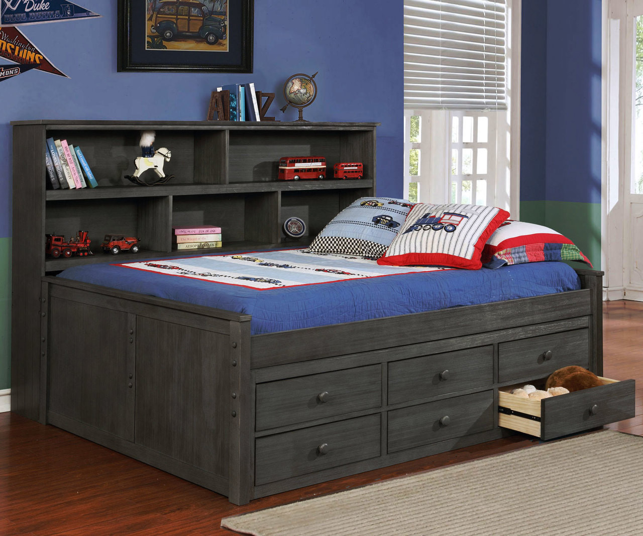 Full Size Bookcase Captains Daybed Driftwood Gray Allen
