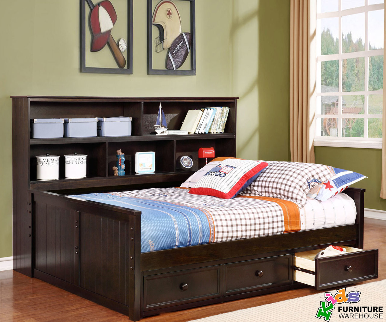 - Full Size Bookcase Captains Daybed Graphite Allen House Kids