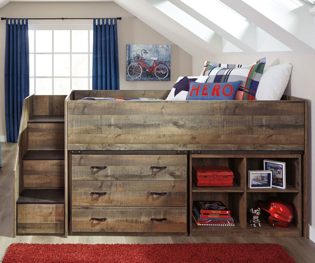 B446 Trinell Low Loft Bed With Stairs Kids Low Loft Bed With Built In Storage Ashley Kids