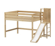 Maxtrix NICHE Mid Loft Bed with Slide Platform Full Size Natural
