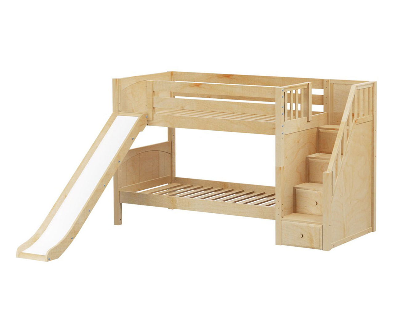 Picture of: Maxtrix Sniggle Low Bunk Bed With Stairs And Slide Matrix Kids Furniture Solid Wood Bed Frames