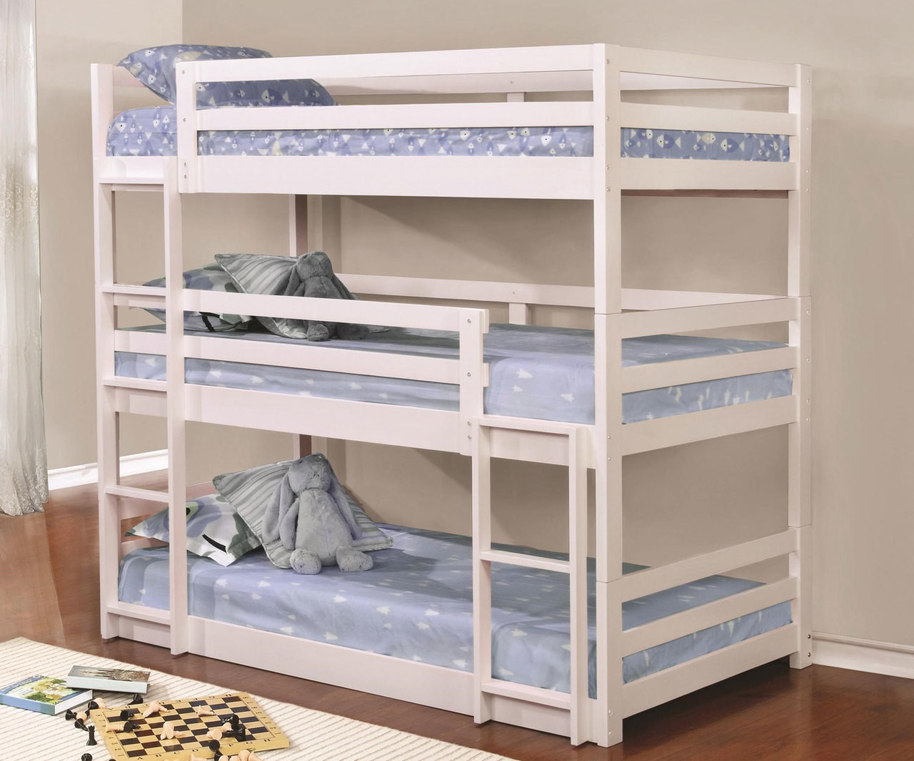 Picture of: Coaster Sandler Triple Bunk Bed Twin Size White 401302 Coaster Furniture Kids And Teens Bunk Beds