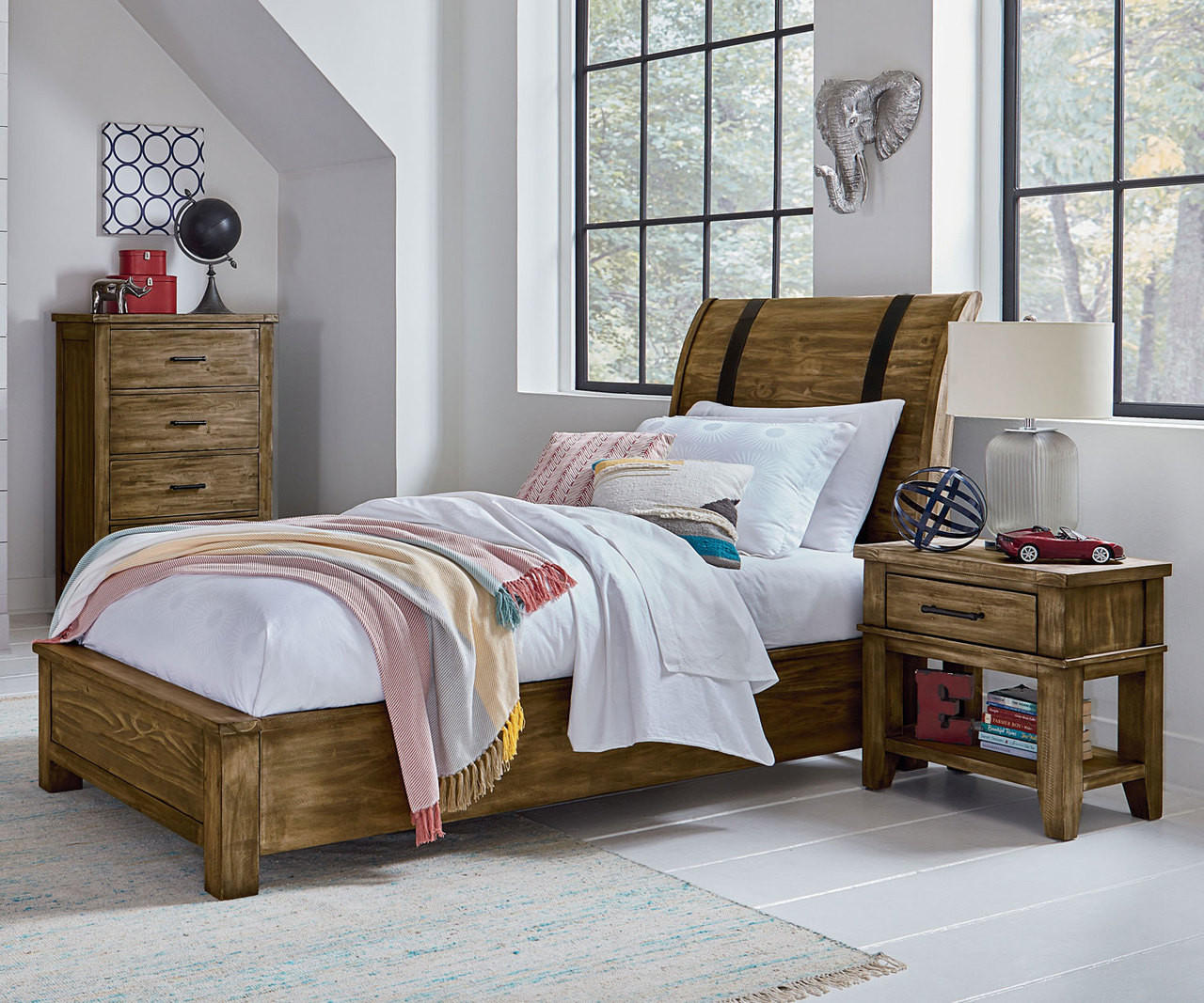 big sale d45cc 28df3 Nelson Sleigh Bed Twin Size Toffee