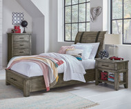 Nelson Storage Sleigh Bed Twin Size Grey
