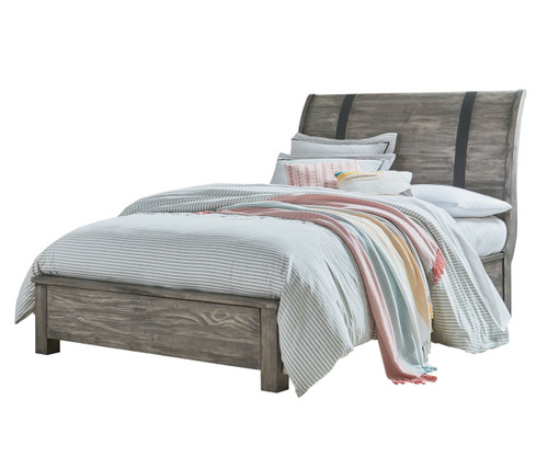 nelson sleigh bed full size grey finish 90350 | standard