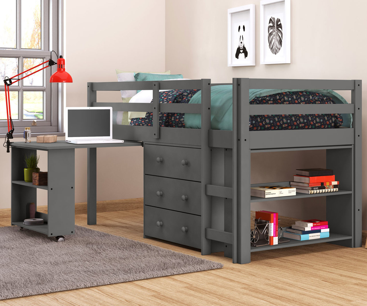 Twin Size Low Loft Bed In Grey Finish 760dg Donco Trading