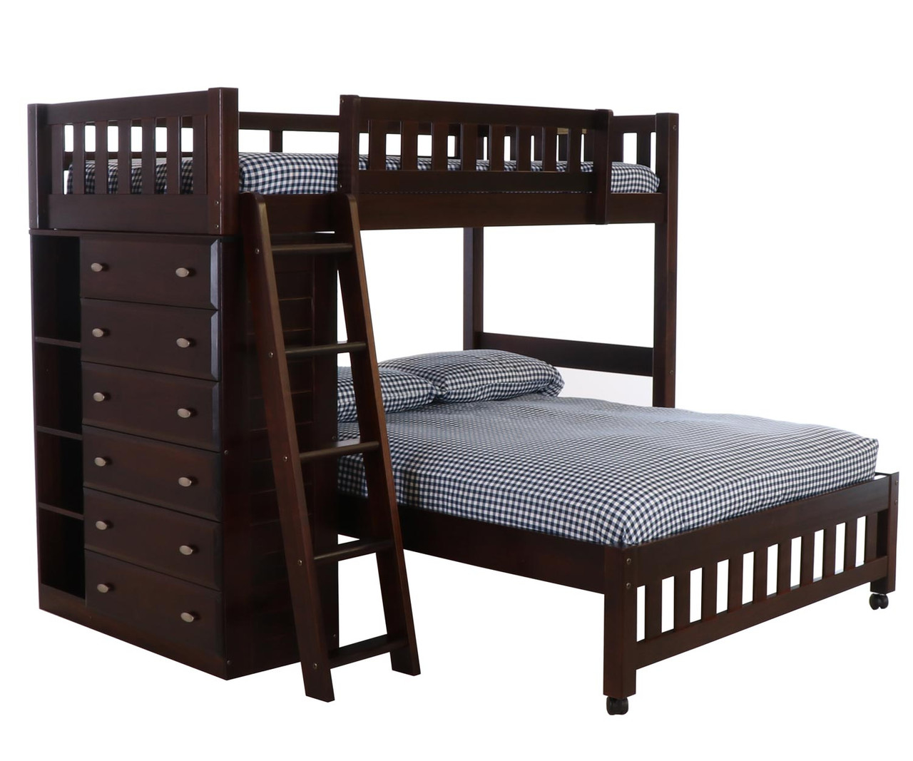 Picture of: Discovery World Furniture Espresso Twin Over Full Loft Bed 2905 Loft Bed For Kids And Teens With Built In Storage Drawers Twin Over Full Dark Espresso Loft Bunkbeds In Orlando And