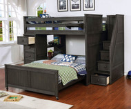 Allen House Full over Full Storage Loft Bed with Stairs Weathered Dark Gray