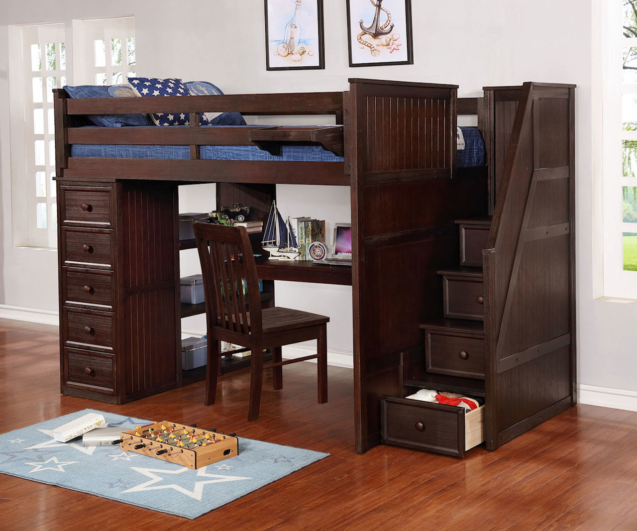 Multifunction Full Size Loft Bed With Desk In Weathered Espresso