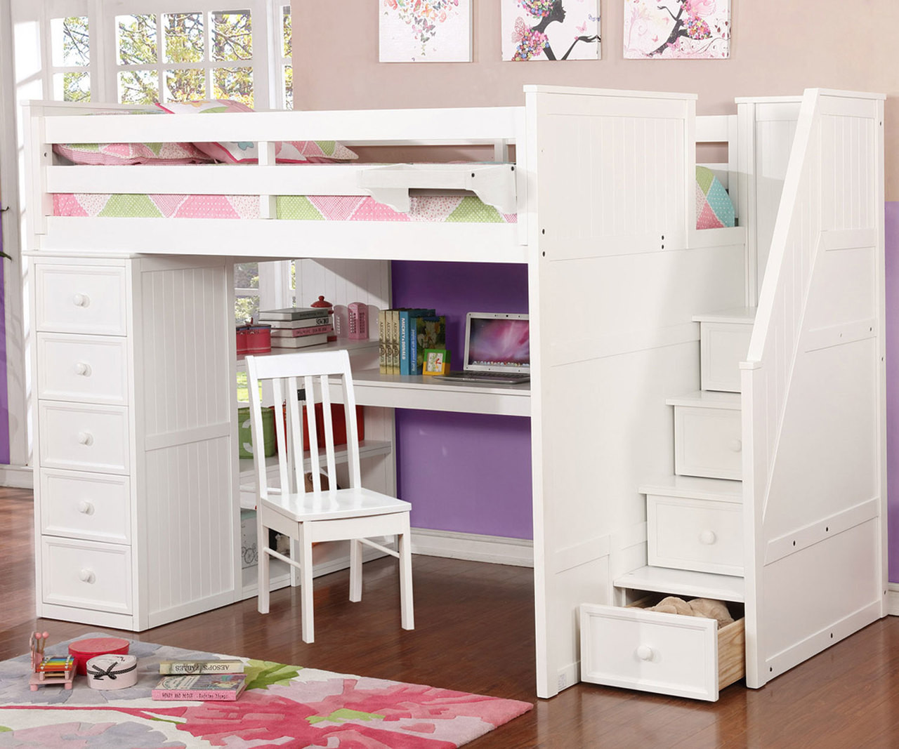 Allen House Study Loft Bed with Stairs Full Size White