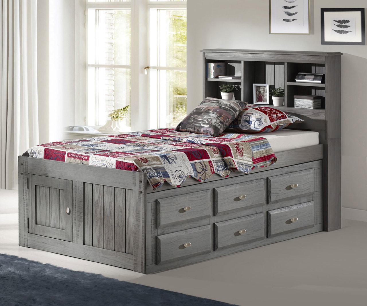 Picture of: Discovery World Furniture Charcoal Twin Size Bookcase Captains Bed Twin Size Grey Bookcase Captain Beds With Drawers Model 3220