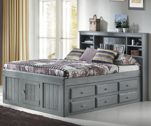Charcoal Full Size Bookcase Captains Bed