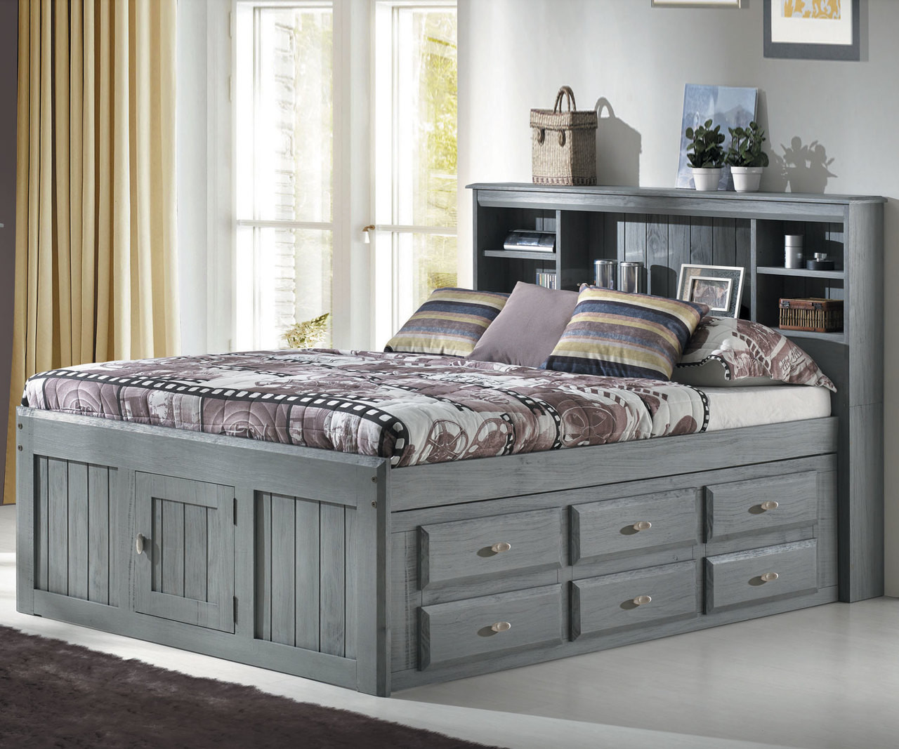 Picture of: Charcoal Full Size Bookcase Captains Bed Kids Furniture
