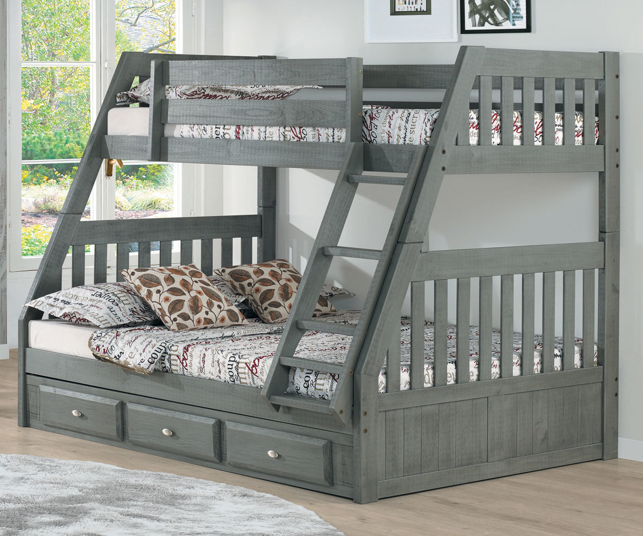 Picture of: Westport Gray Twin Over Full Bunk Bed Kids Furniture