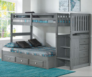 Westport Gray Twin over Full Stair Stepper Bunk Bed