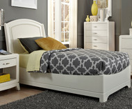 Avalon Leather Platform Bed Twin Size White Truffle