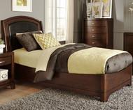 Avalon Leather Platform Bed Twin Size Dark Truffle