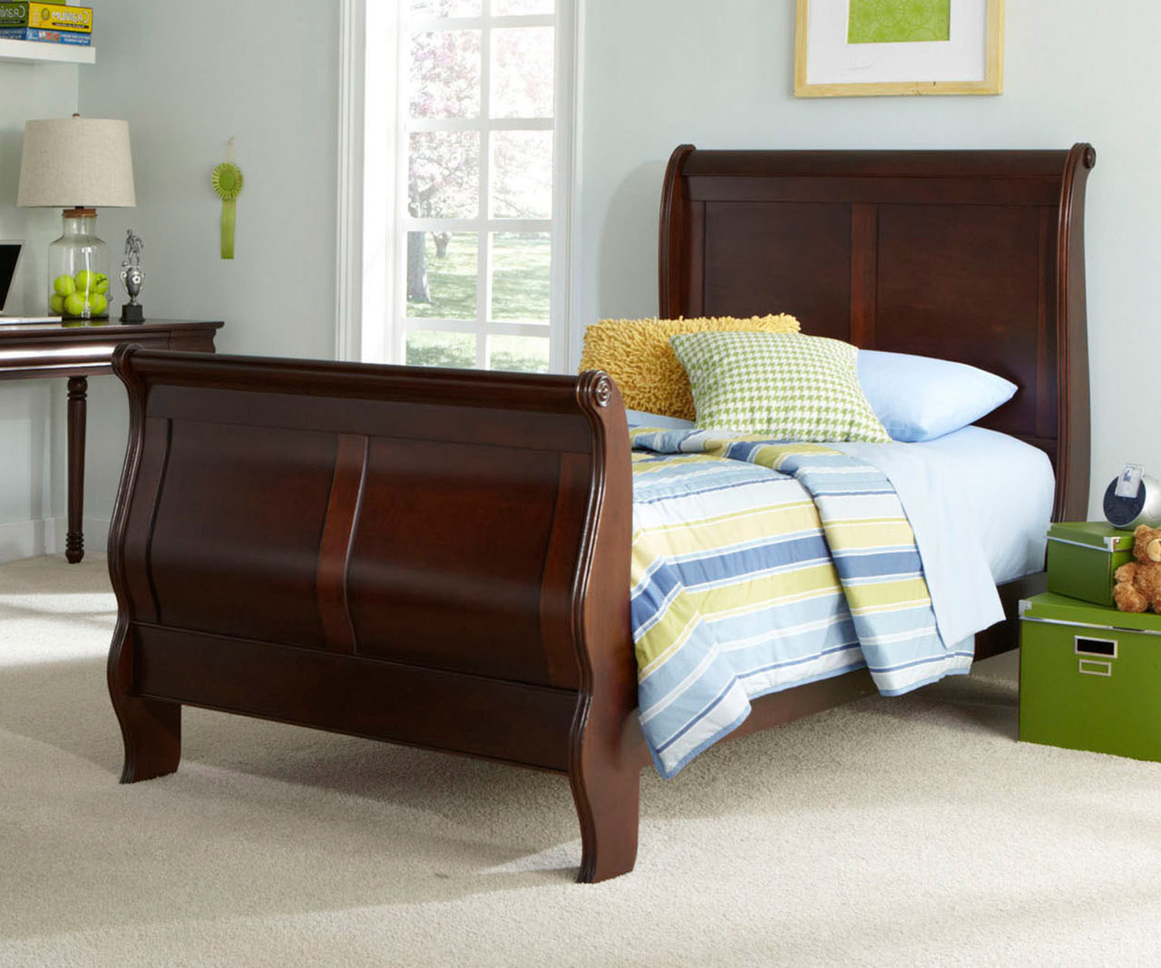 - Carriage Court Full Size Sleigh Bed LF709-YBR-FSL Liberty