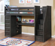 Allen House Study Loft Bed with Stairs Twin Size Weathered Dark Gray