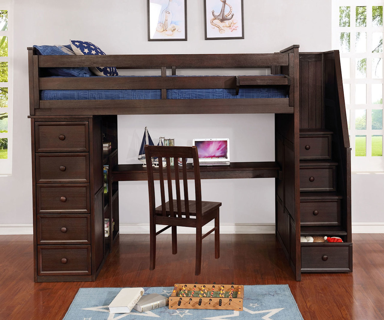 Multifunction Twin Size Loft Bed With Desk In Weathered Espresso Allen House Kids Loft Beds And Bunk Beds