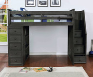 Allen House  Loft Bed with Stairs Twin Size Weathered Dark Gray