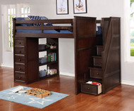 Allen House  Loft Bed with Stairs Full Size Weathered Espresso