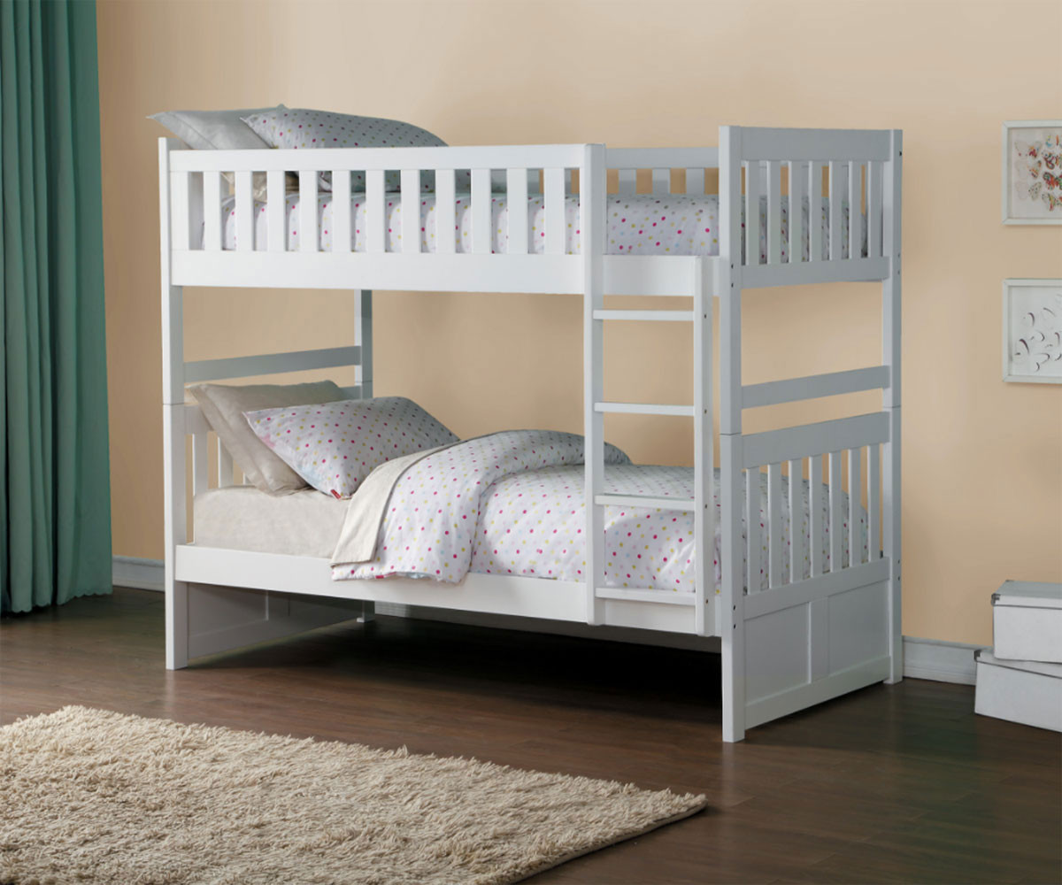Stanford Twin over Twin Bunk Bed Bed White Finish B2053W-1 | Home ...