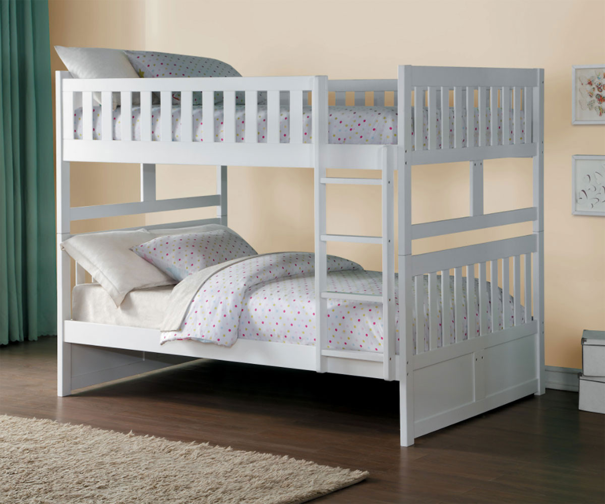 Stanford Full over Full Bunk Bed Bed White Finish B2053FFW-1 | Home ...