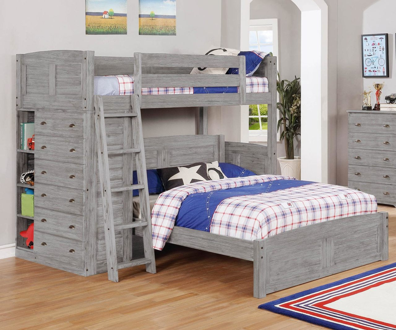 Picture of: Discovery World Furniture Northview Twin Over Full Loft Bed 4205 Loft Bed For Kids And Teens With Built In Storage Drawers