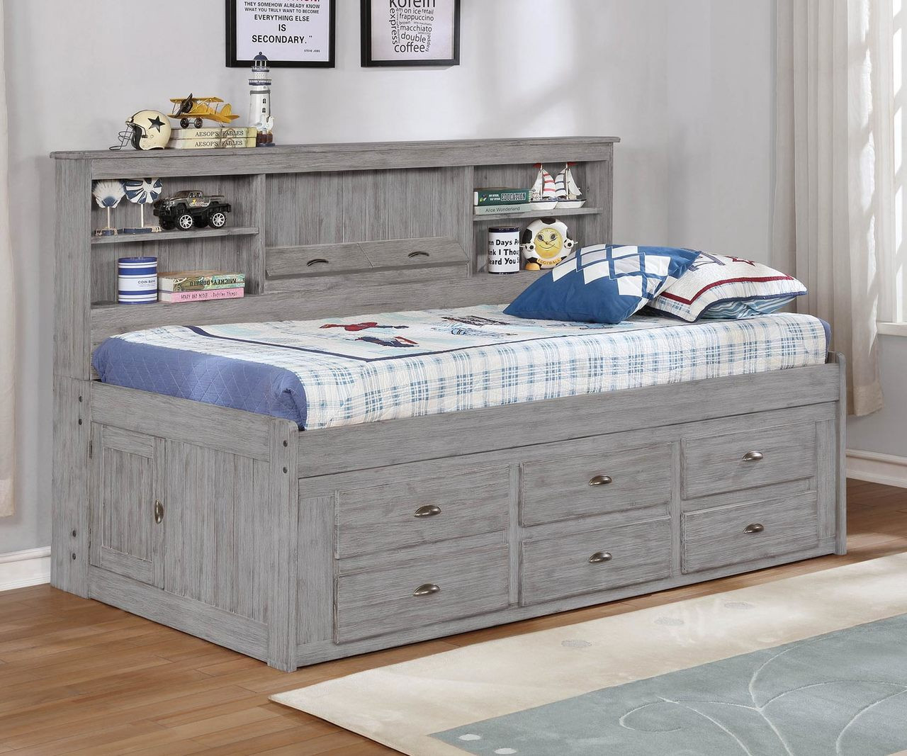 Picture of: Twin Size Bookcase Captains Day Bed In Grey 4222 Kfw