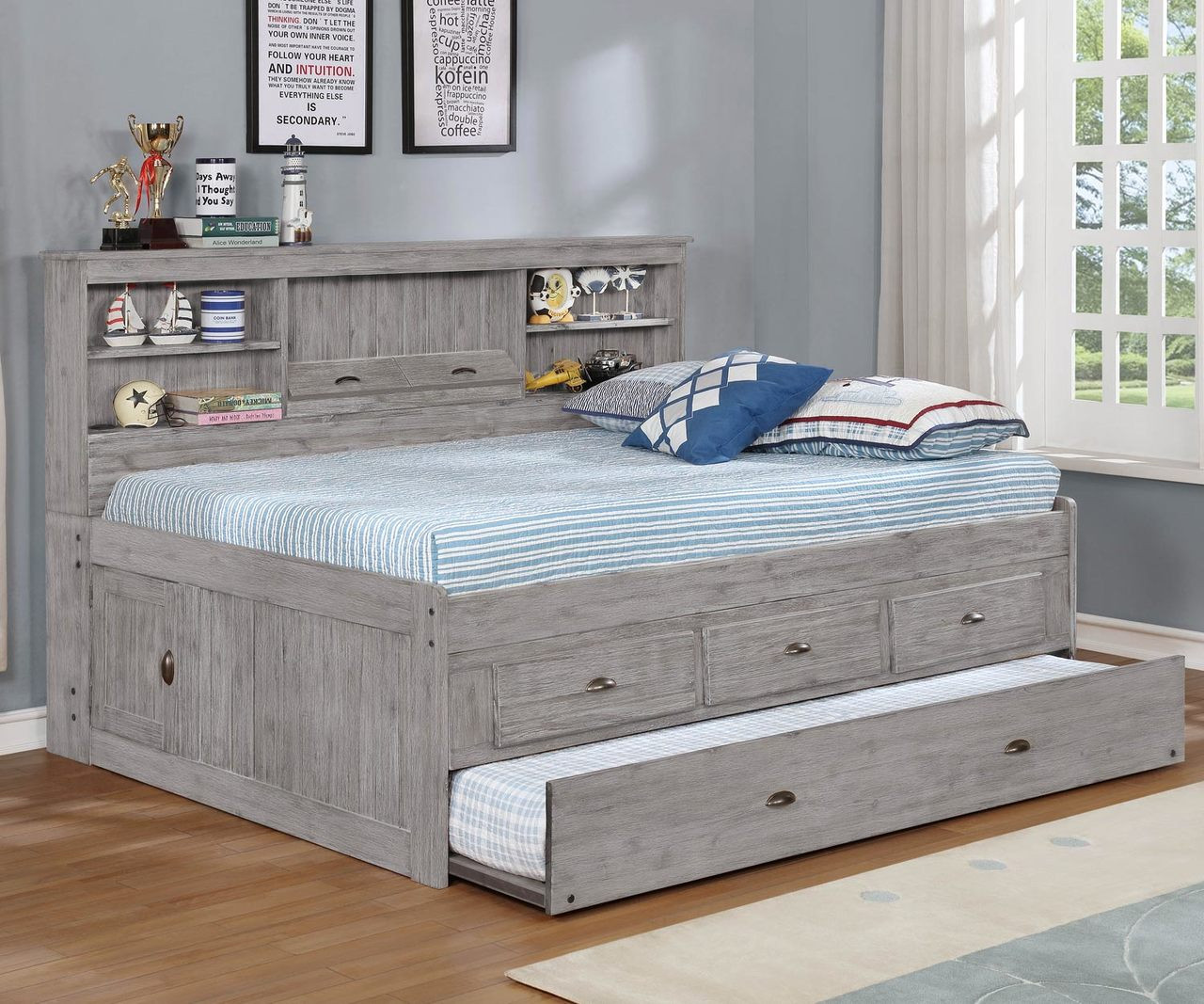 - Full Size Bookcase Captains Day Bed In Grey 4223 Kids And Teens