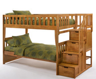 Crestwood Bunk Bed with Stairs Medium Oak