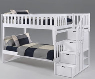 Crestwood Bunk Bed with Stairs White