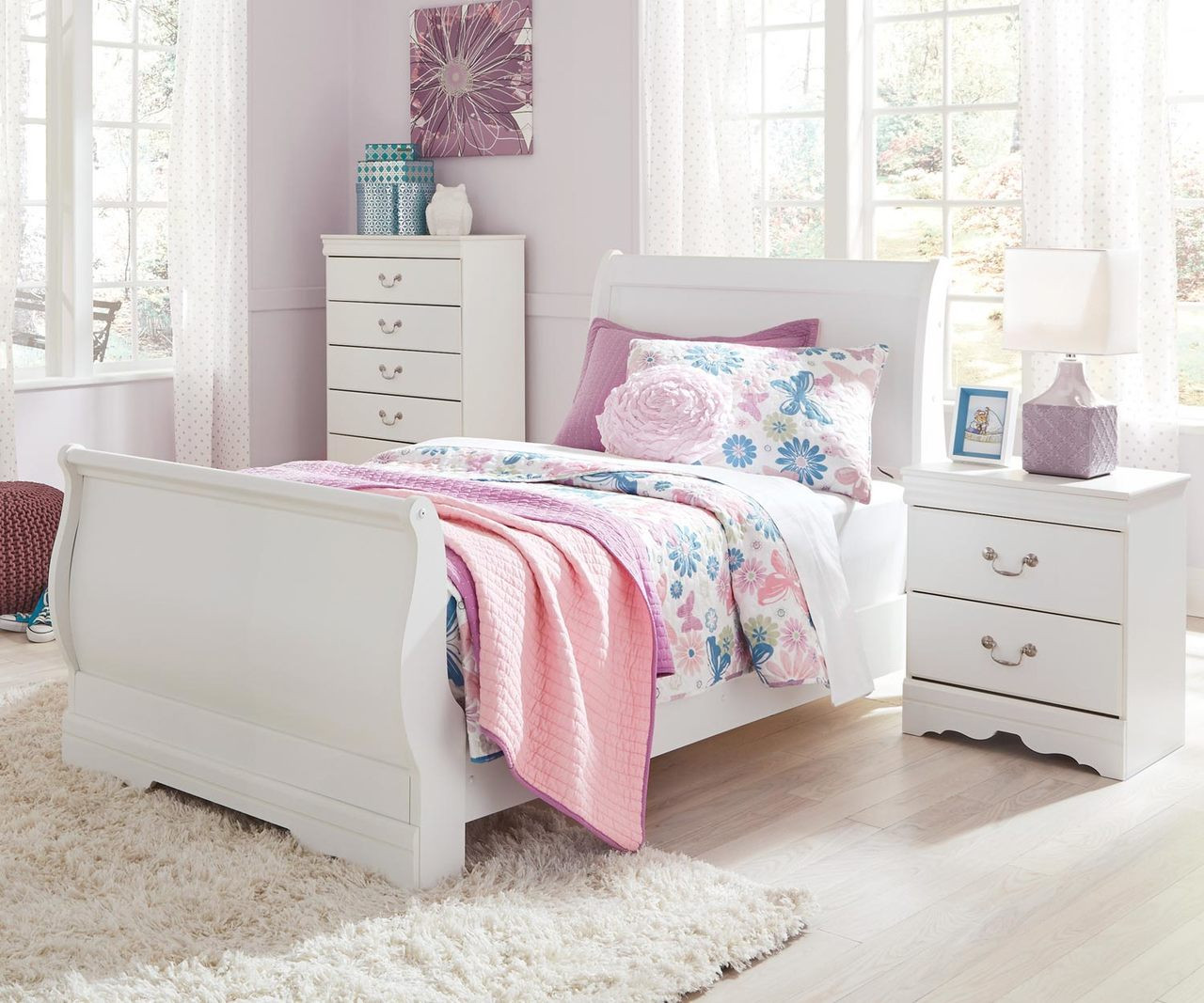 - Anarasia Twin Size Sleigh Bed B129 Ashley Kids Furniture Girls
